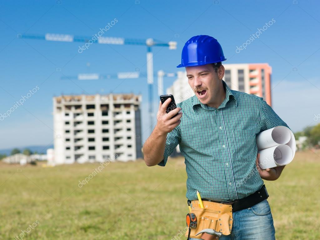 angry contractor screaming at phone