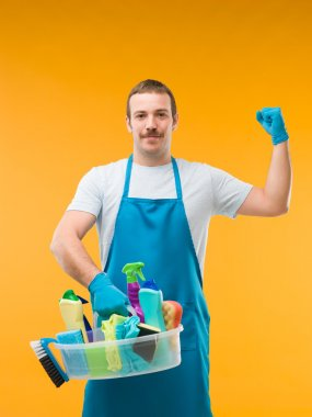 cleaning man showing his biceps