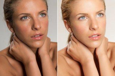 closeup beauty portrait of young, blonde woman