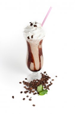 iced coffee with whipped cream and straw