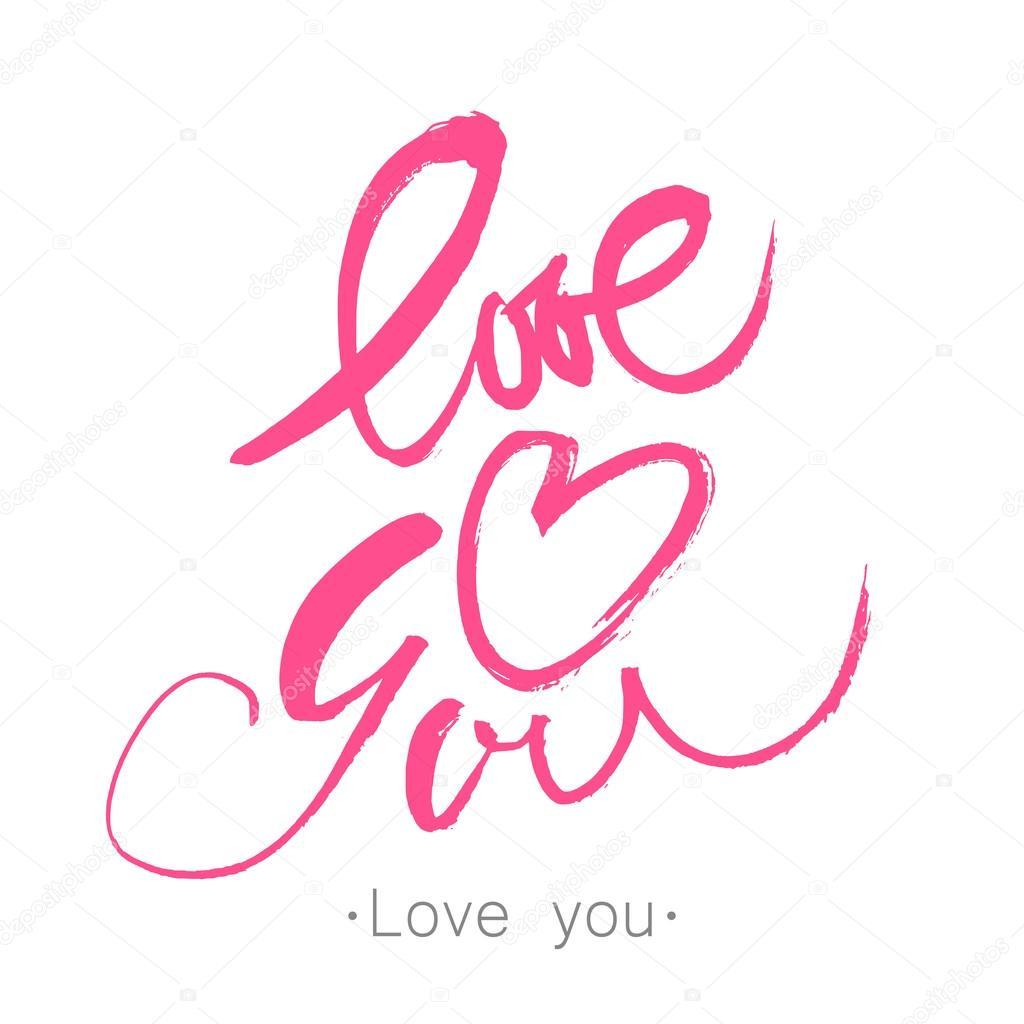 Love You Heart Brush Stockvector Antoshkaforever 118511782