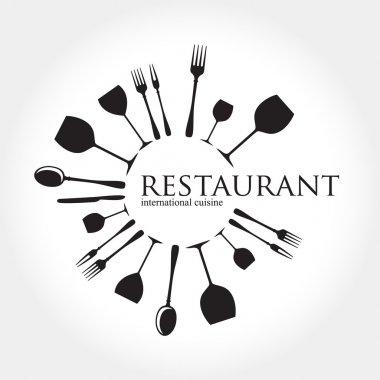 Restaurant logo - idea for the sign, logo, label element stock vector