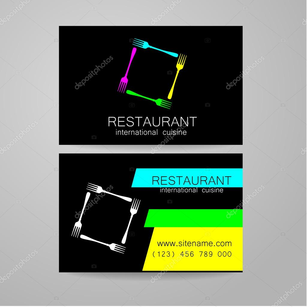 Logo Du Restaurant Modle De Conception Le Concept Des Restaurants Type Entreprise Servant Une Cuisine Internationale Un Exemple Dune Carte Visite