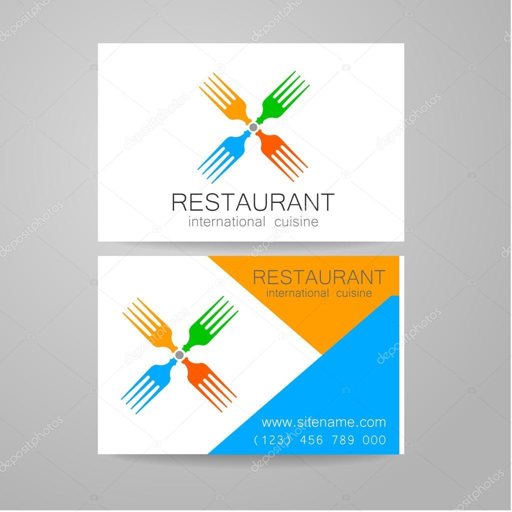 Logo Du Restaurant Modle De Conception Le Concept Des Restaurants Type Entreprise Servant Une Cuisine Internationale Un Exemple Dune Carte Visite