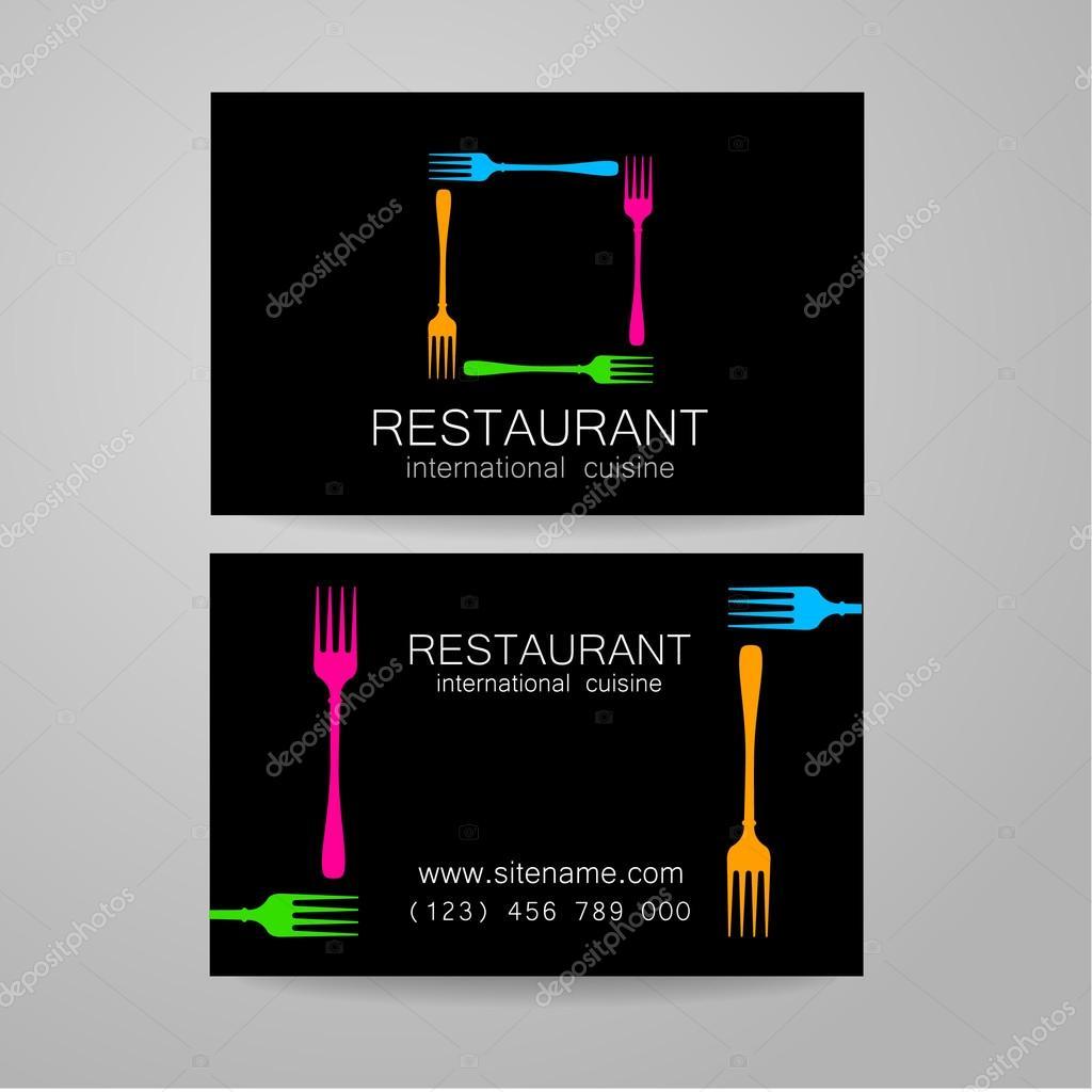 plantilla de tarjeta de visita de restaurante insignia — Vector de ...