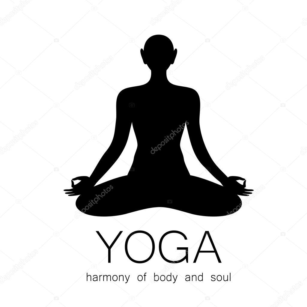yoga meditation harmony body and soul template sign stock vector