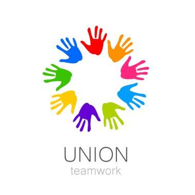 union hands teamwork logo template