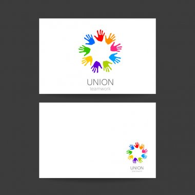 union hands teamwork logo template