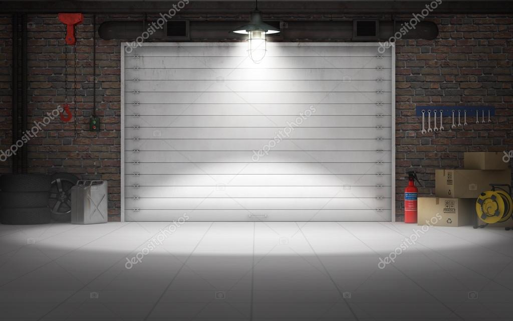 Empty Car Repair Garage Background 3d Rendering Stock