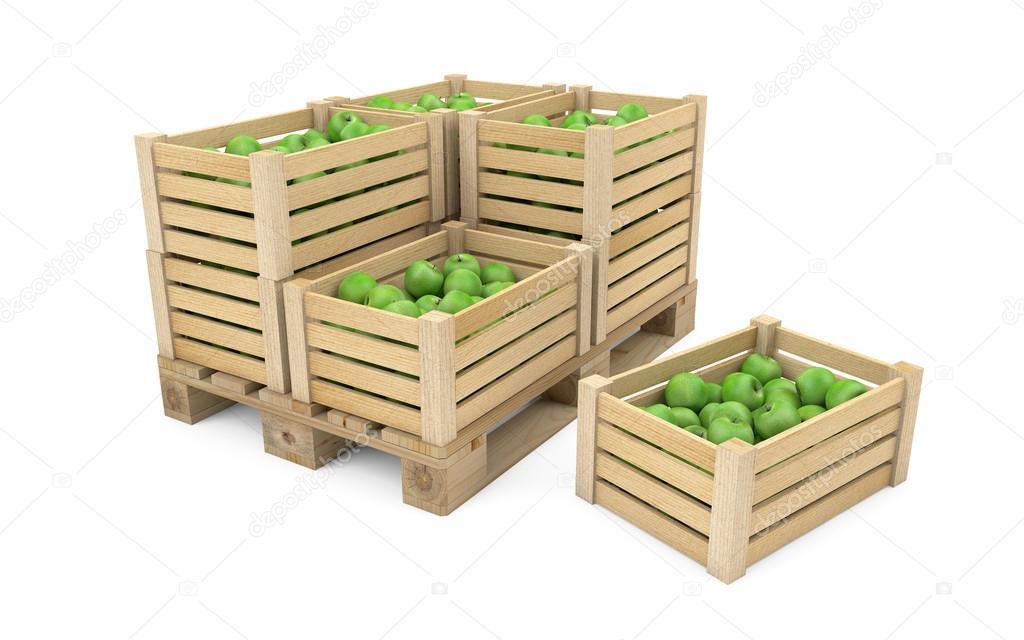 Bardzo dobra Skrzynie pełne jabłek na palety drewniane — Zdjęcie stockowe LS11