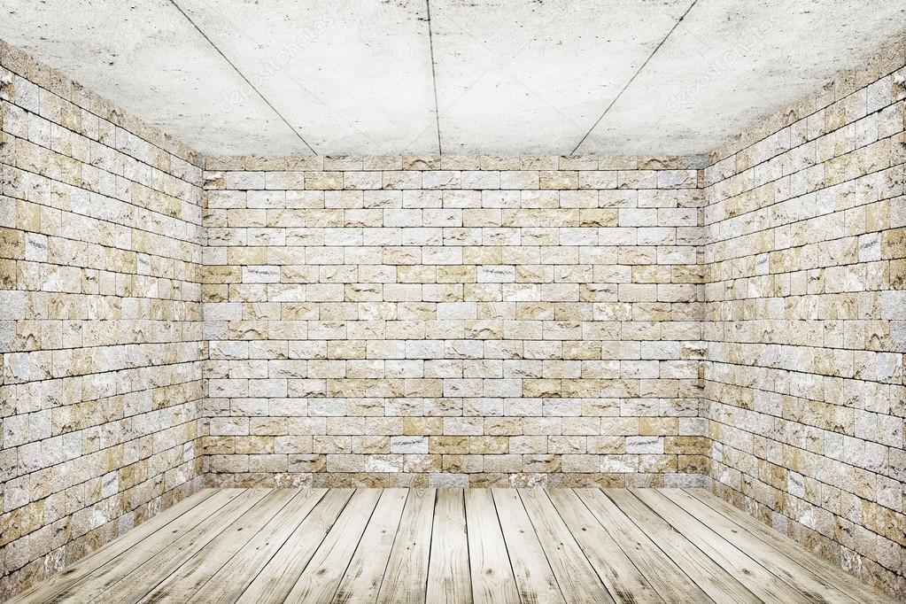 흰색 벽돌 벽과 나무 바닥 배경으로 룸 인테리어 빈티지 — 스톡 ...
