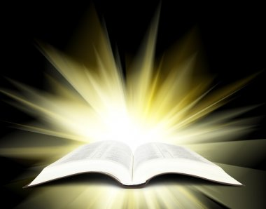 Bible with yellow rays
