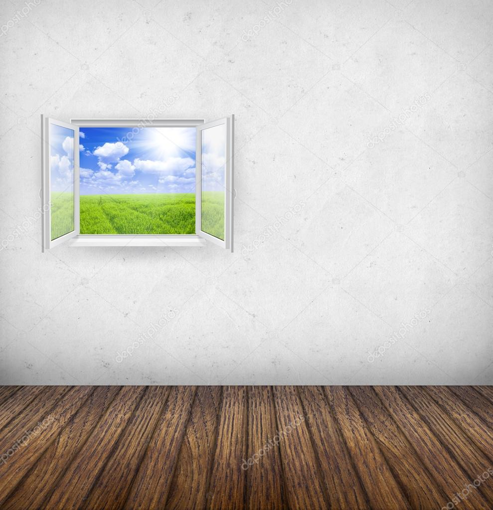 Open window with nature landscape