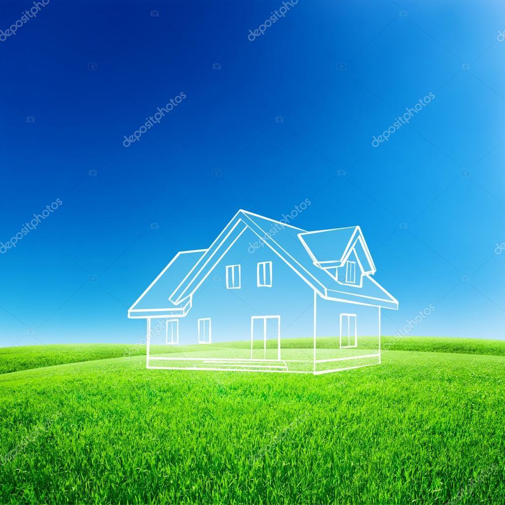 Sketch house on green field