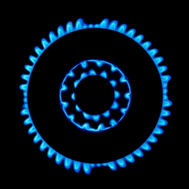 Blue gas stove flame in the dark background stock vector