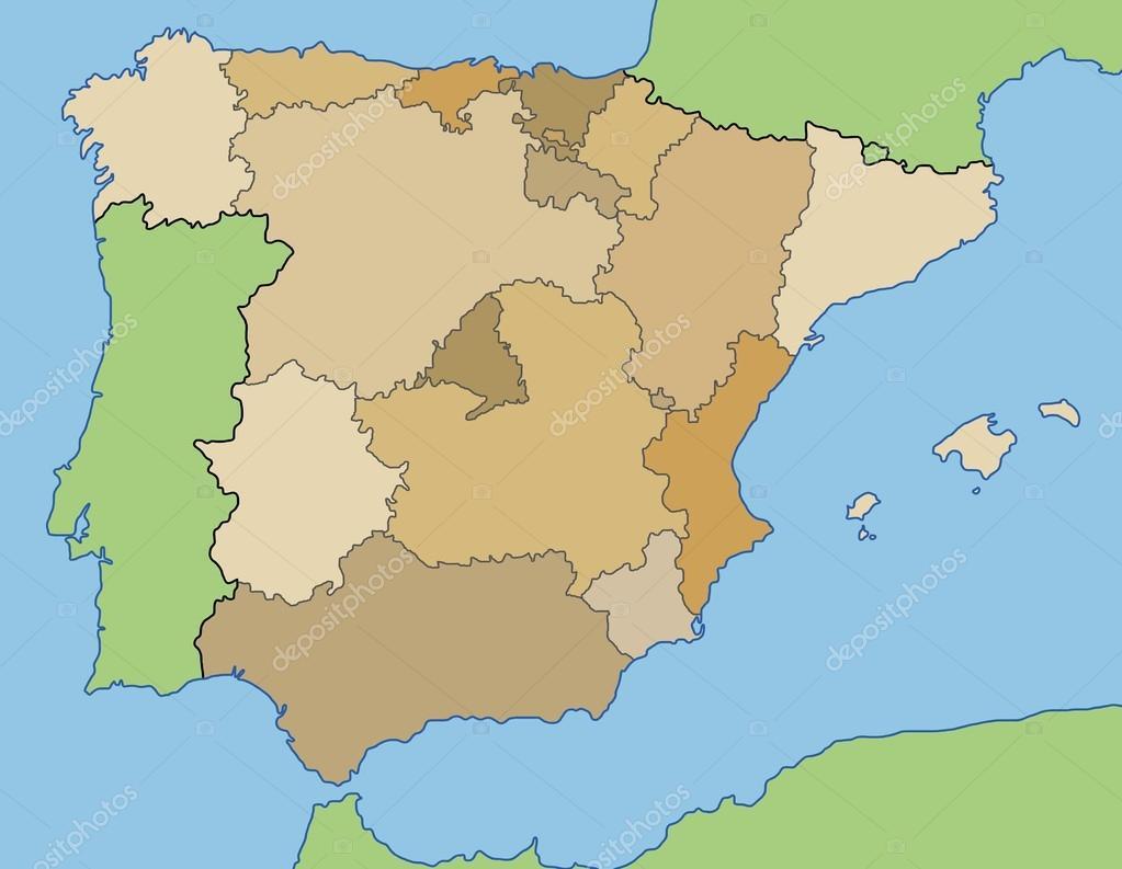 Karta Pa Spansk.Spanien Karta Vektor Stock Vektor C Tupungato 101056584