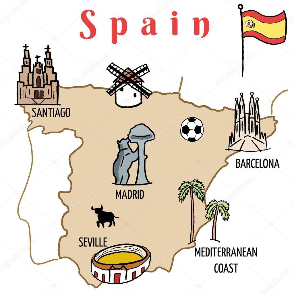 Karta Over Sevardheter I Barcelona.Spanien Karta Vektor Illustration Stock Vektor C Tupungato