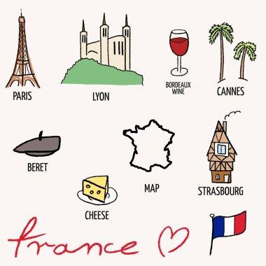 France landmarks vector