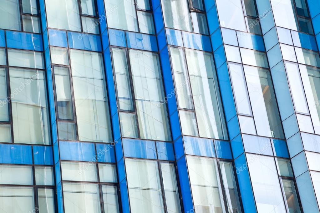 Ufficio Moderno Architettura In Vetro Blu Parete Sfondi Foto Stock