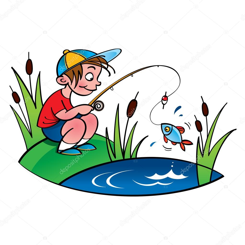 Kreslene Chlapce Rybareni Stock Vektor C Ofchina 72973655