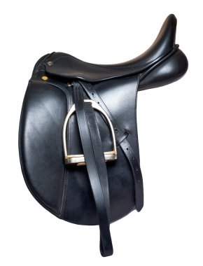 Black leather dressage saddle  isolated on white background