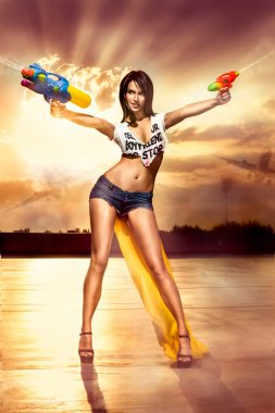 Girl with a water pistol