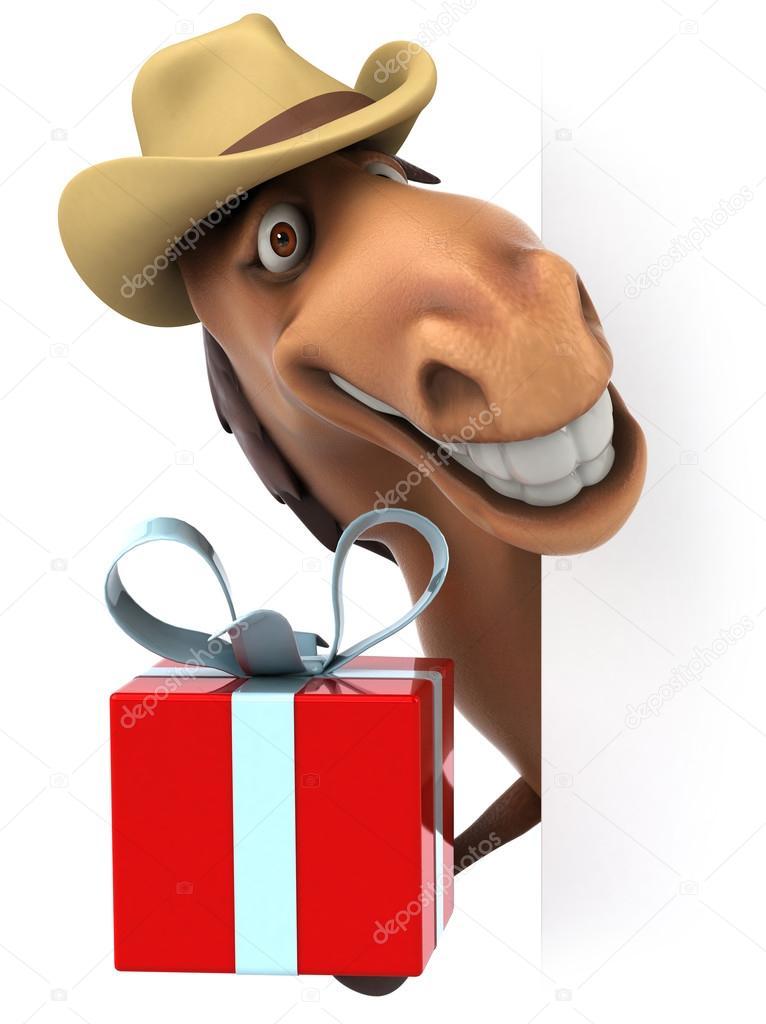 cheval avec le cadeau de nol photo - Cadeau Cheval
