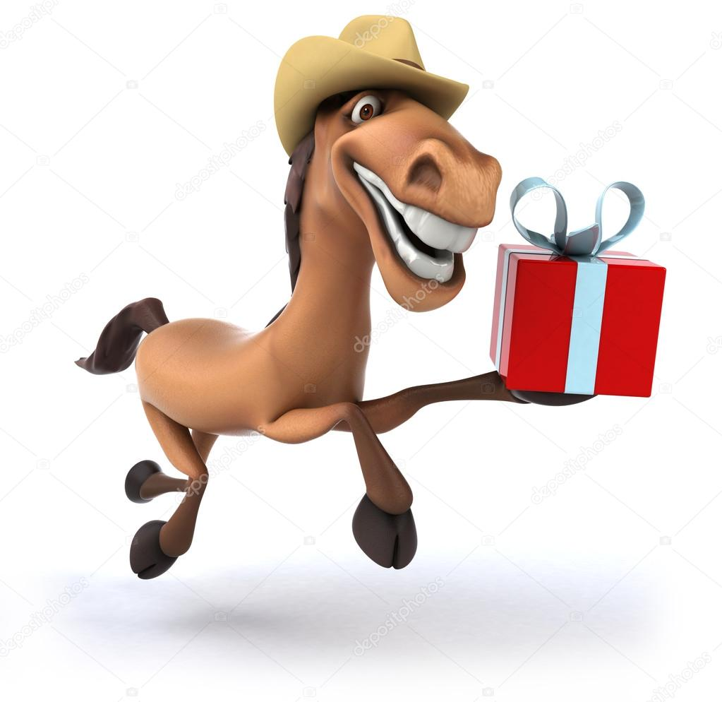 Christmas Horse Cartoon.Horse With Christmas Gift Stock Photo C Julos 53099593