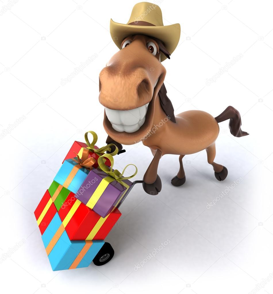 Pferd mit Weihnachtsgeschenke — Stockfoto © julos #53099759
