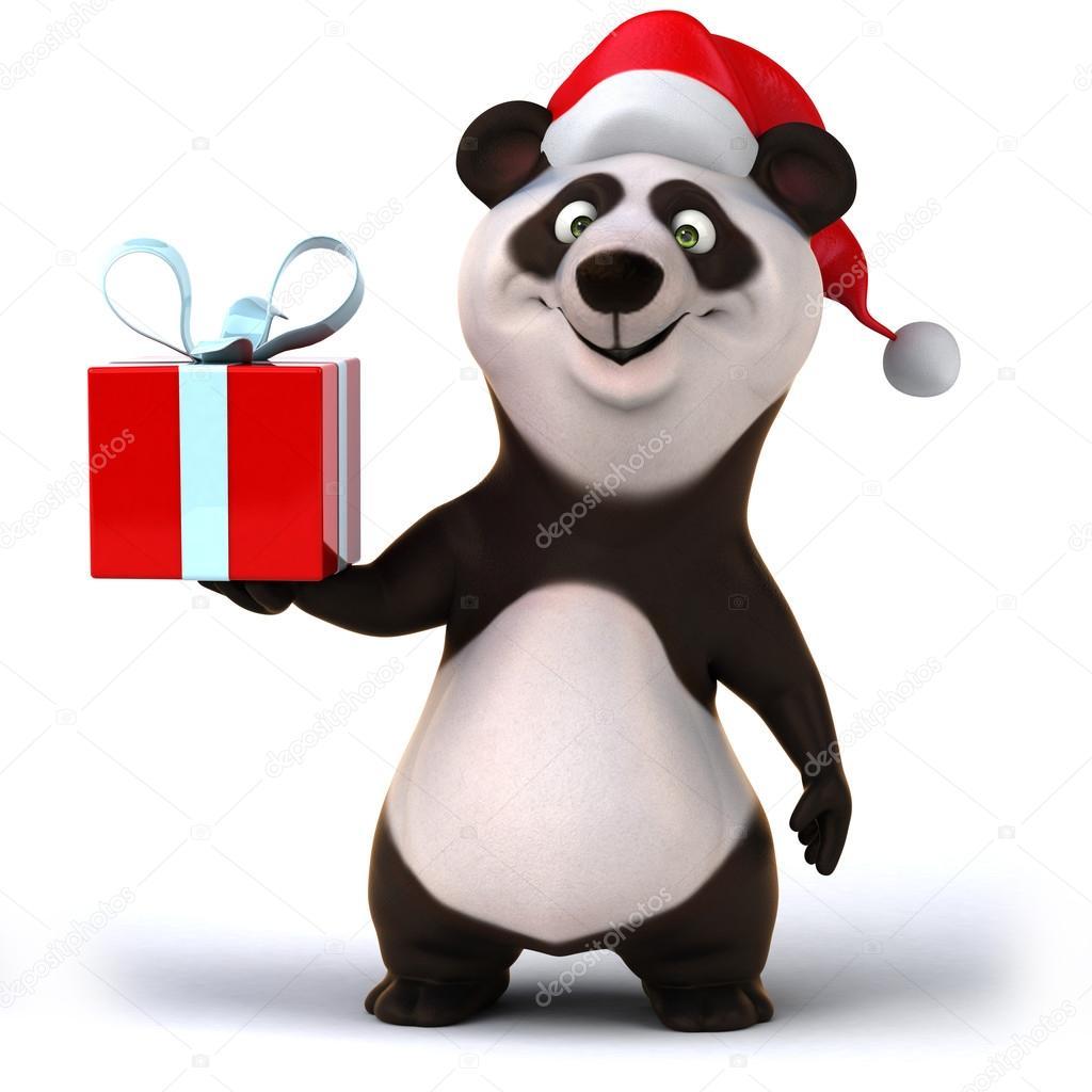 Panda mit Weihnachtsgeschenk — Stockfoto © julos #53100317