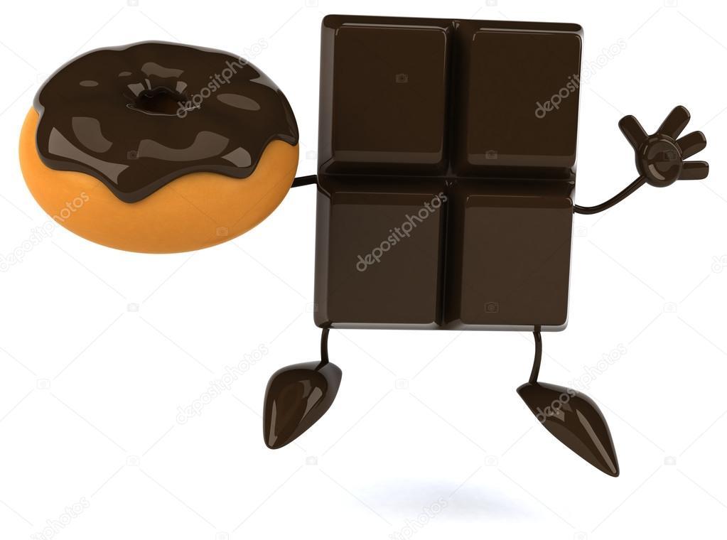 Tablette de chocolat avec beignet de dessin anim photographie julos 57898877 - Dessin tablette chocolat ...