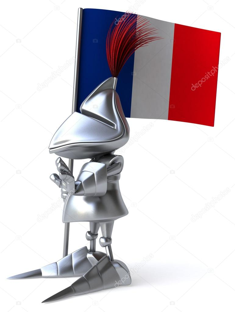 fun knight with french flag stock photo julos 57975575. Black Bedroom Furniture Sets. Home Design Ideas