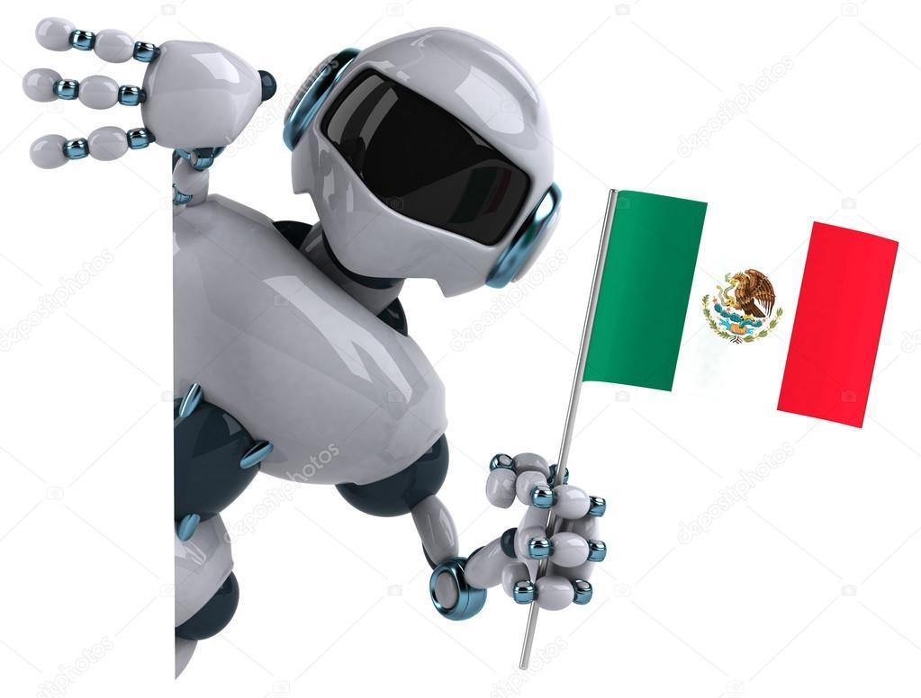 Robot Con La Bandera De México
