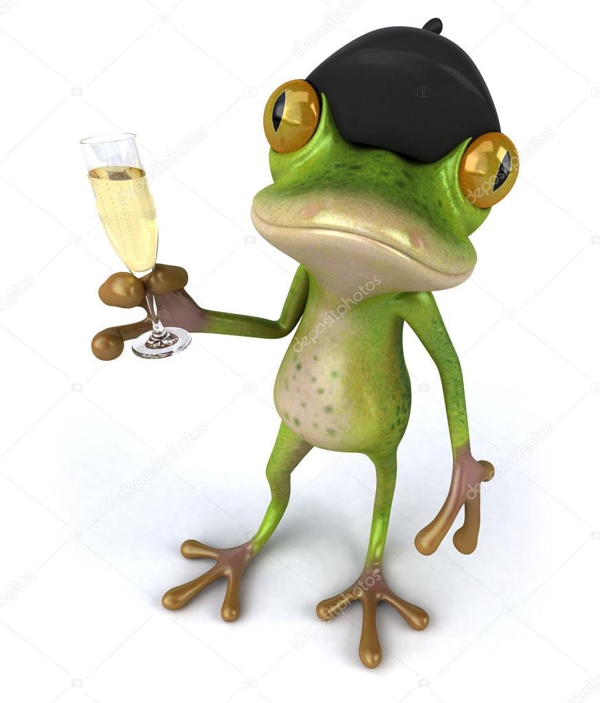 lustige frosch mit glas sekt stockfoto julos 59525721. Black Bedroom Furniture Sets. Home Design Ideas