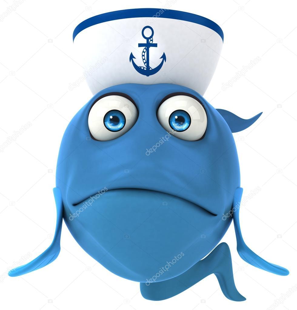 a171c905ddc81 Peces de dibujos animados en sombrero de marinero — Fotos de Stock ...
