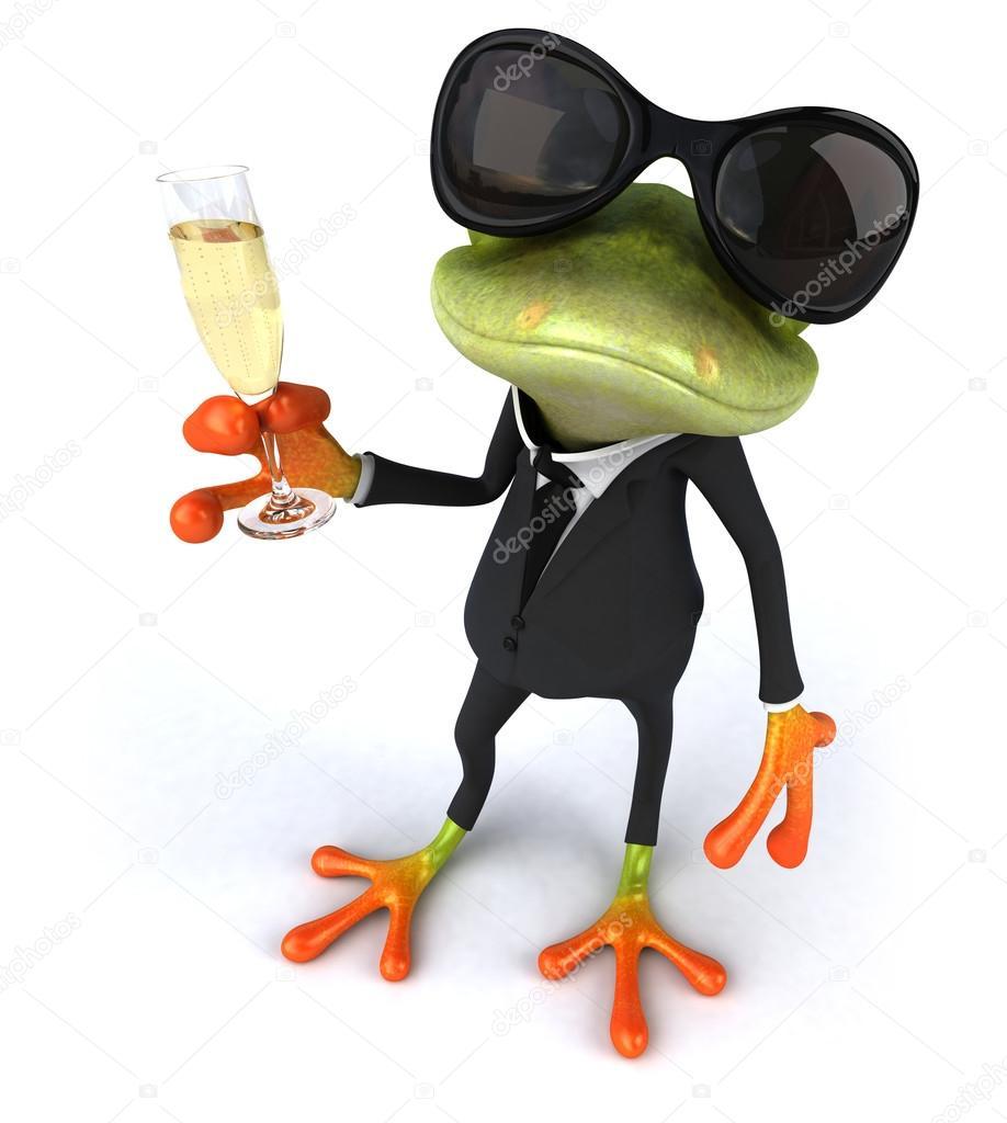 lustige frosch mit glas sekt stockfoto julos 64248549. Black Bedroom Furniture Sets. Home Design Ideas
