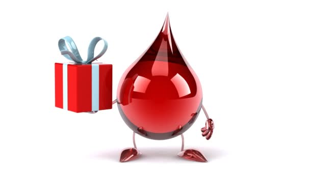 Cartoon Bloed Drop En Cadeau Stockvideo Julos 69906713