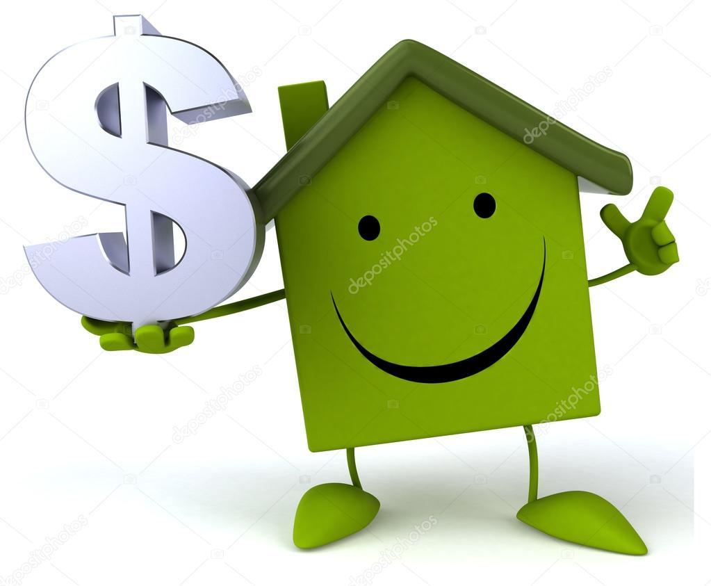 Cartoon house with dollar sign — Stock Photo © julos #71593367