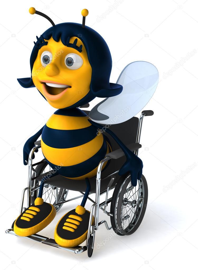 Lustige Biene Auf Rollstuhl Sitzend Stockfoto Julos