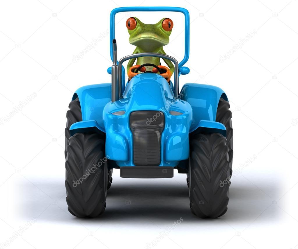 Zabavne Kreslene Zaba V Traktoru Stock Fotografie C Julos 86696610