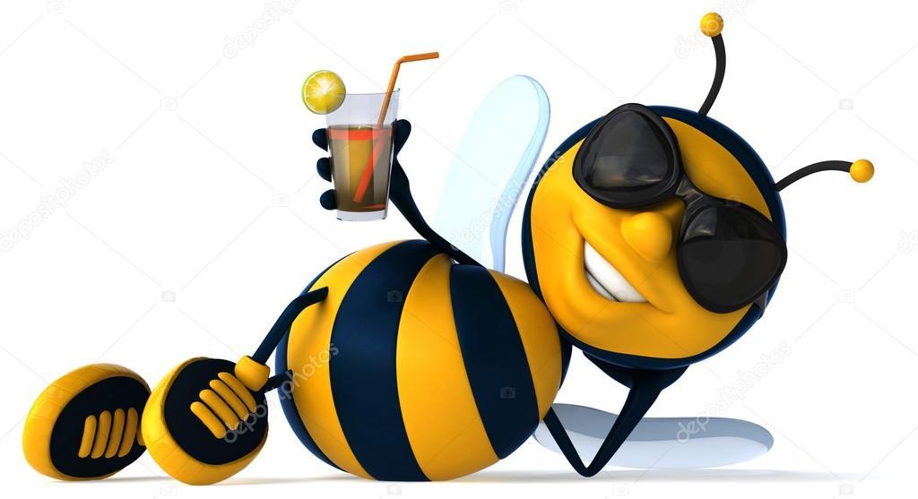 Lustige Bienen trinken Limonade — Stockfoto © julos #90942042
