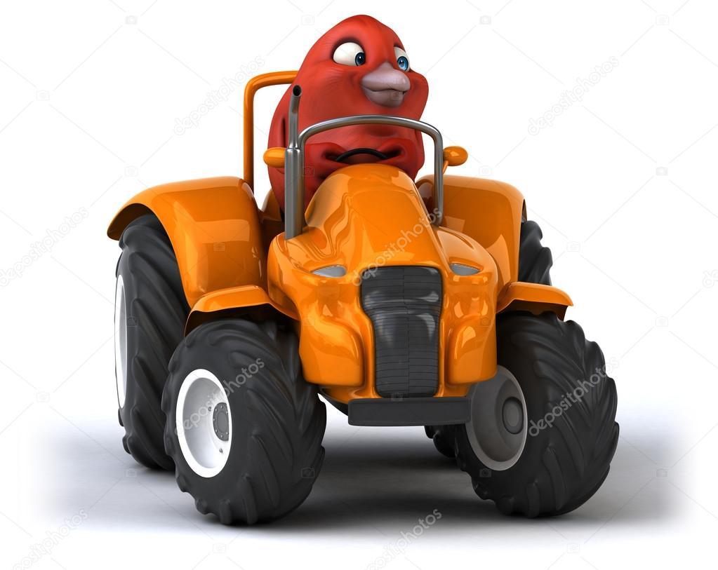 Zabavne Kreslene Ptak V Traktoru Stock Fotografie C Julos 96076222