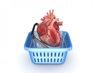 Human heart in a basket.