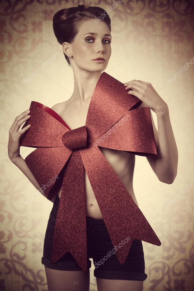 sexy girl adorned with bow