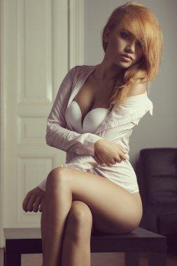 Redhead women in shirt