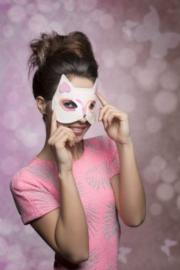 woman with lovely kitten mask