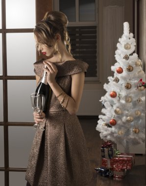 girl at elegant christmas party