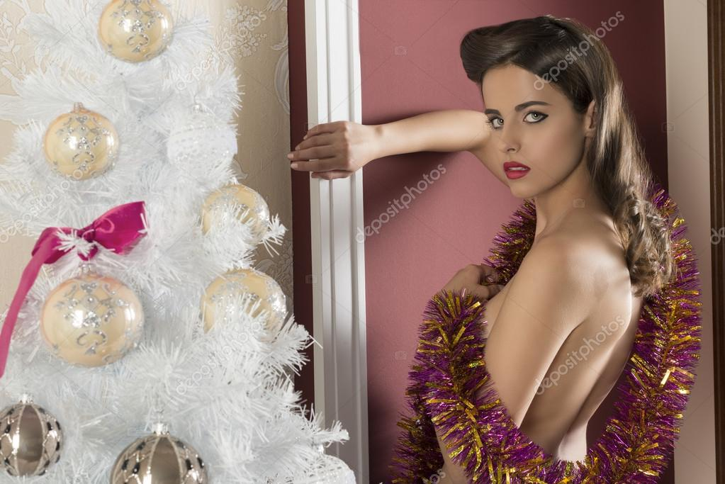 alluring woman in xmas time