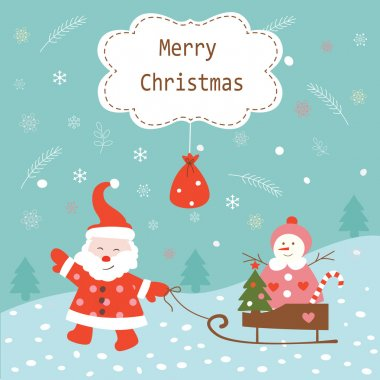 Christmas vintage background with Santa and snowman stock vector