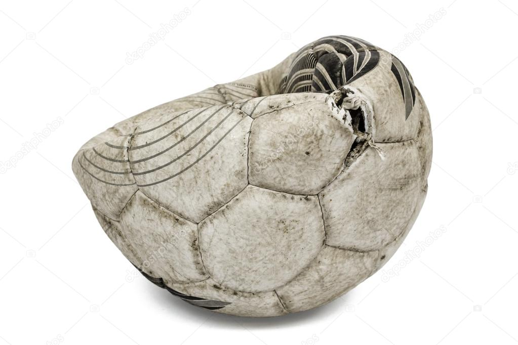 Old torn soccer ball, isolated on white background — Stock ...